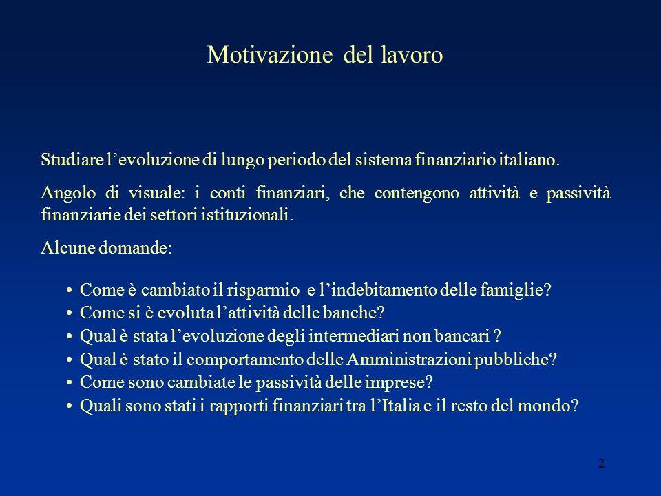 2 Studiare levoluzione di lungo periodo del sistema finanziario italiano.
