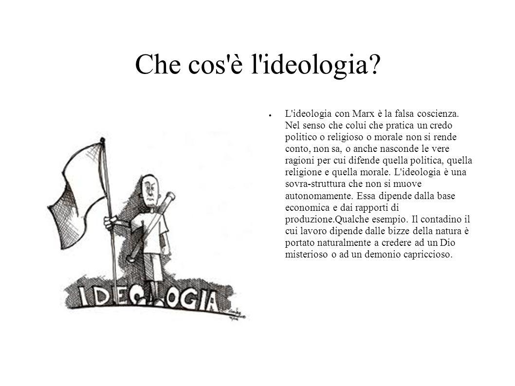 Che cos'è l'ideologia? L'ideologia con Marx è la falsa coscienza. Nel senso che colui che pratica un credo politico o religioso o morale non si rende