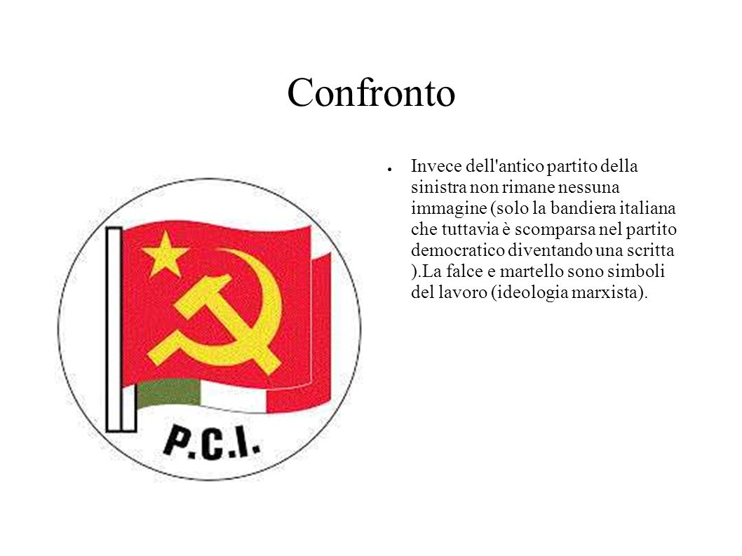 Confronto Invece dell'antico partito della sinistra non rimane nessuna immagine (solo la bandiera italiana che tuttavia è scomparsa nel partito democr