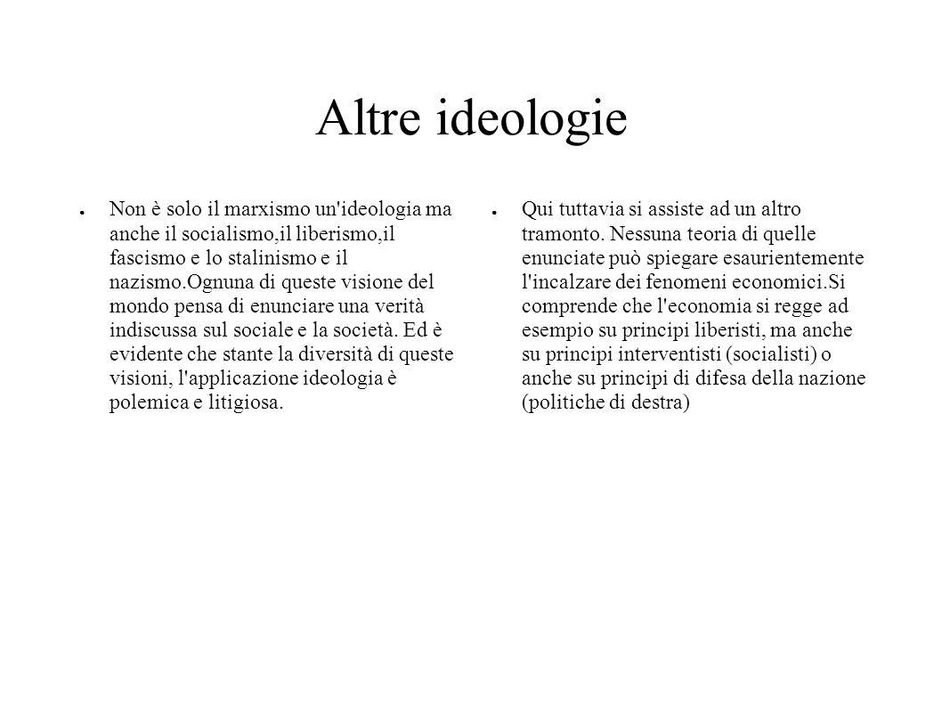 Altre ideologie Non è solo il marxismo un'ideologia ma anche il socialismo,il liberismo,il fascismo e lo stalinismo e il nazismo.Ognuna di queste visi
