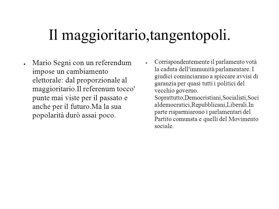 Il maggioritario,tangentopoli. Mario Segni con un referendum impose un cambiamento elettorale: dal proporzionale al maggioritario.Il referenum tocco'