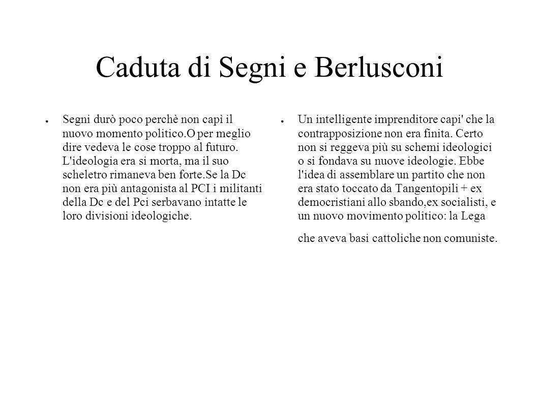 Caduta di Segni e Berlusconi Segni durò poco perchè non capì il nuovo momento politico.O per meglio dire vedeva le cose troppo al futuro. L'ideologia