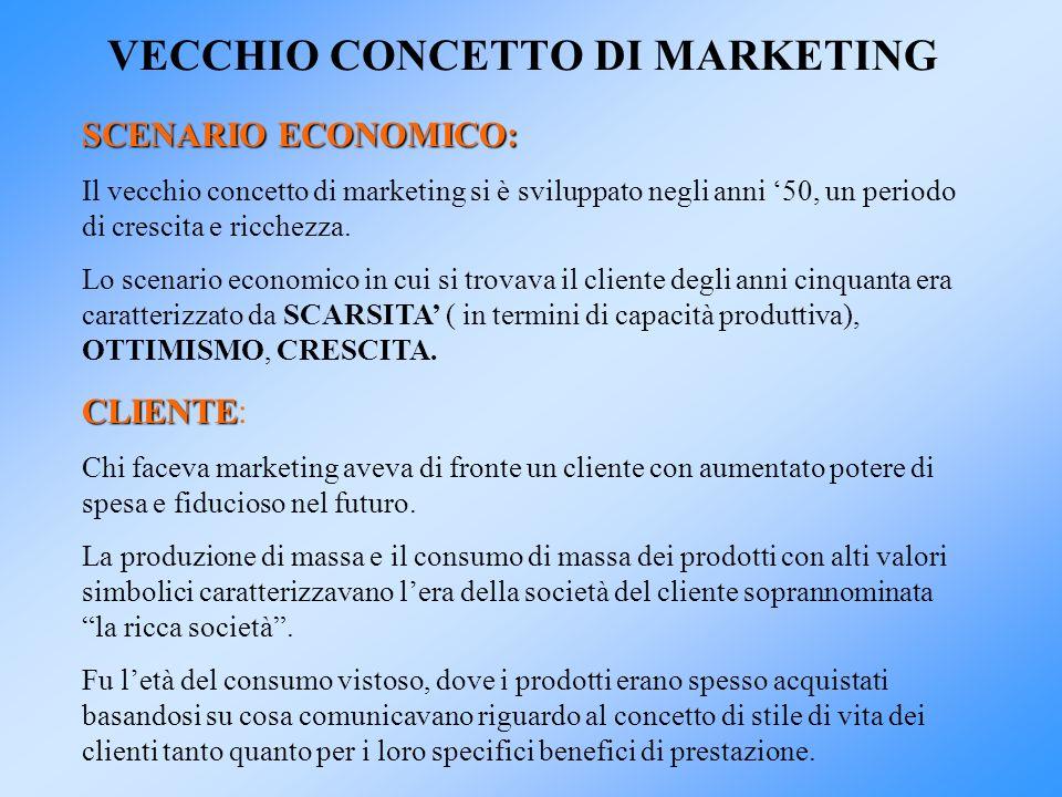 VECCHIO CONCETTO DI MARKETING SCENARIO ECONOMICO: Il vecchio concetto di marketing si è sviluppato negli anni 50, un periodo di crescita e ricchezza.