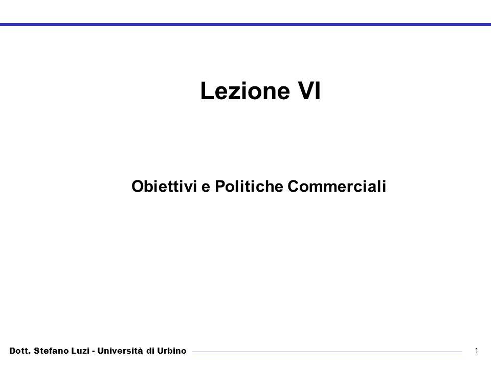 Dott. Stefano Luzi - Università di Urbino Obiettivi e Politiche Commerciali 1 Lezione VI Obiettivi e Politiche Commerciali