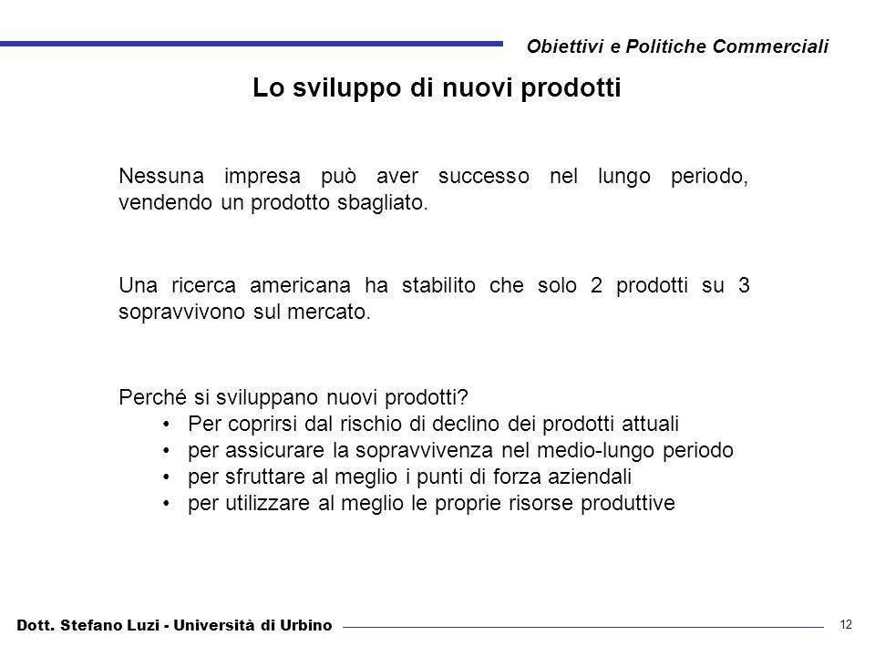Dott. Stefano Luzi - Università di Urbino Obiettivi e Politiche Commerciali 12 Lo sviluppo di nuovi prodotti Nessuna impresa può aver successo nel lun