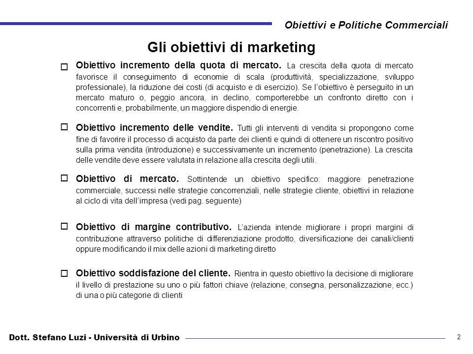 Dott. Stefano Luzi - Università di Urbino Obiettivi e Politiche Commerciali 2 Gli obiettivi di marketing Obiettivo incremento della quota di mercato.