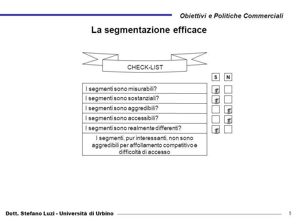 Dott. Stefano Luzi - Università di Urbino Obiettivi e Politiche Commerciali 5 La segmentazione efficace CHECK-LIST I segmenti sono misurabili? I segme