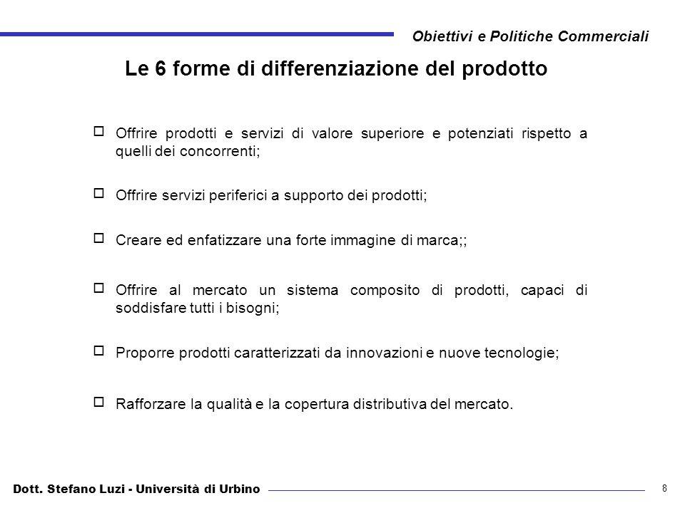Dott. Stefano Luzi - Università di Urbino Obiettivi e Politiche Commerciali 8 Le 6 forme di differenziazione del prodotto Offrire prodotti e servizi d