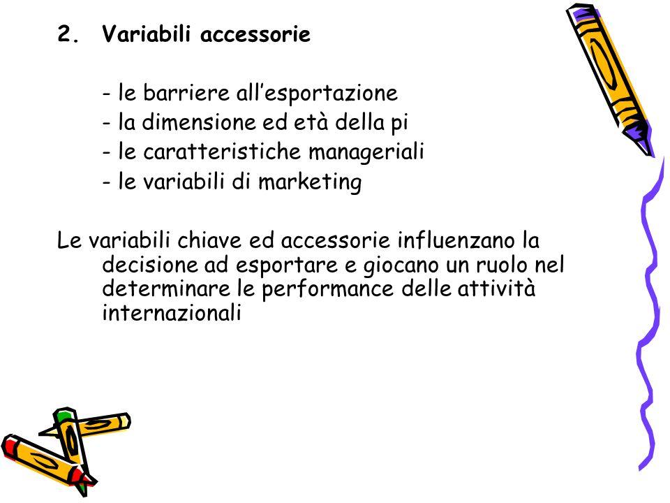 2.Variabili accessorie - le barriere allesportazione - la dimensione ed età della pi - le caratteristiche manageriali - le variabili di marketing Le v