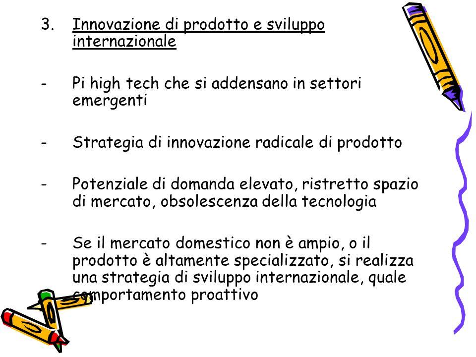 3.Innovazione di prodotto e sviluppo internazionale -Pi high tech che si addensano in settori emergenti -Strategia di innovazione radicale di prodotto