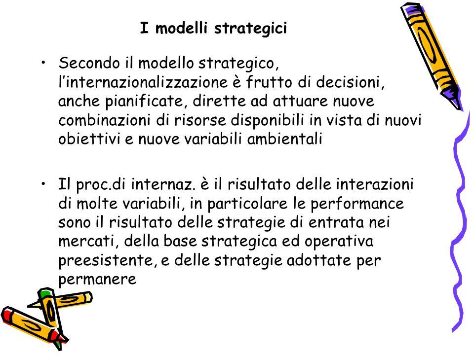 I modelli strategici Secondo il modello strategico, linternazionalizzazione è frutto di decisioni, anche pianificate, dirette ad attuare nuove combina