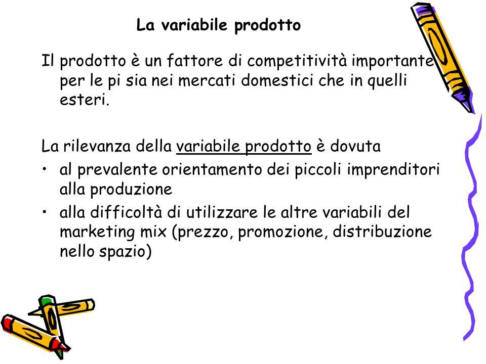 La variabile prodotto Il prodotto è un fattore di competitività importante per le pi sia nei mercati domestici che in quelli esteri. La rilevanza dell
