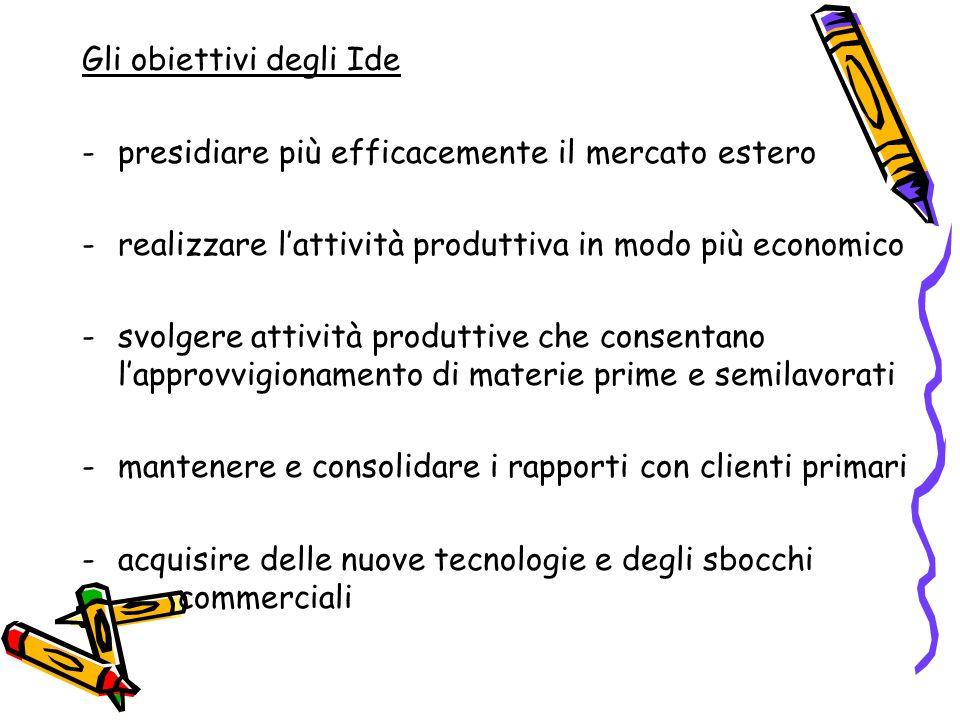 Gli obiettivi degli Ide -presidiare più efficacemente il mercato estero -realizzare lattività produttiva in modo più economico -svolgere attività prod
