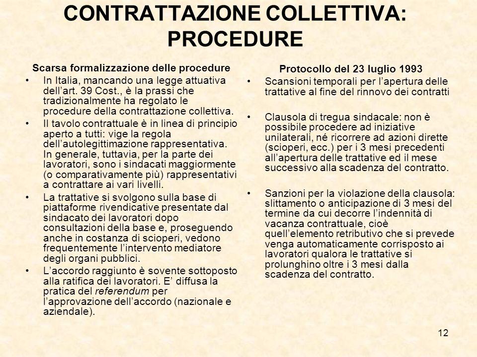 12 CONTRATTAZIONE COLLETTIVA: PROCEDURE Scarsa formalizzazione delle procedure In Italia, mancando una legge attuativa dellart.