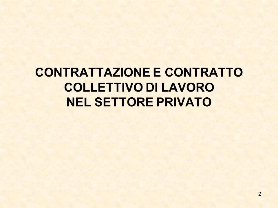 2 CONTRATTAZIONE E CONTRATTO COLLETTIVO DI LAVORO NEL SETTORE PRIVATO