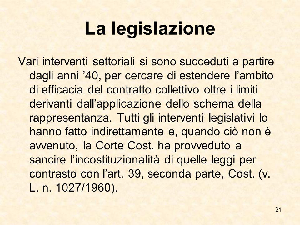 21 La legislazione Vari interventi settoriali si sono succeduti a partire dagli anni 40, per cercare di estendere lambito di efficacia del contratto collettivo oltre i limiti derivanti dallapplicazione dello schema della rappresentanza.