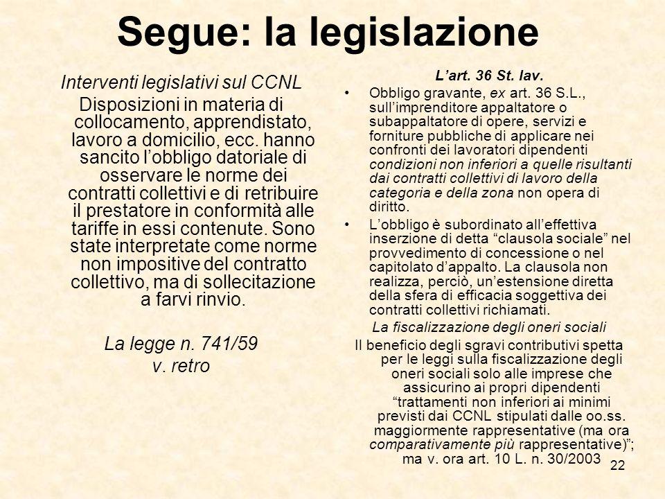 22 Segue: la legislazione Interventi legislativi sul CCNL Disposizioni in materia di collocamento, apprendistato, lavoro a domicilio, ecc.