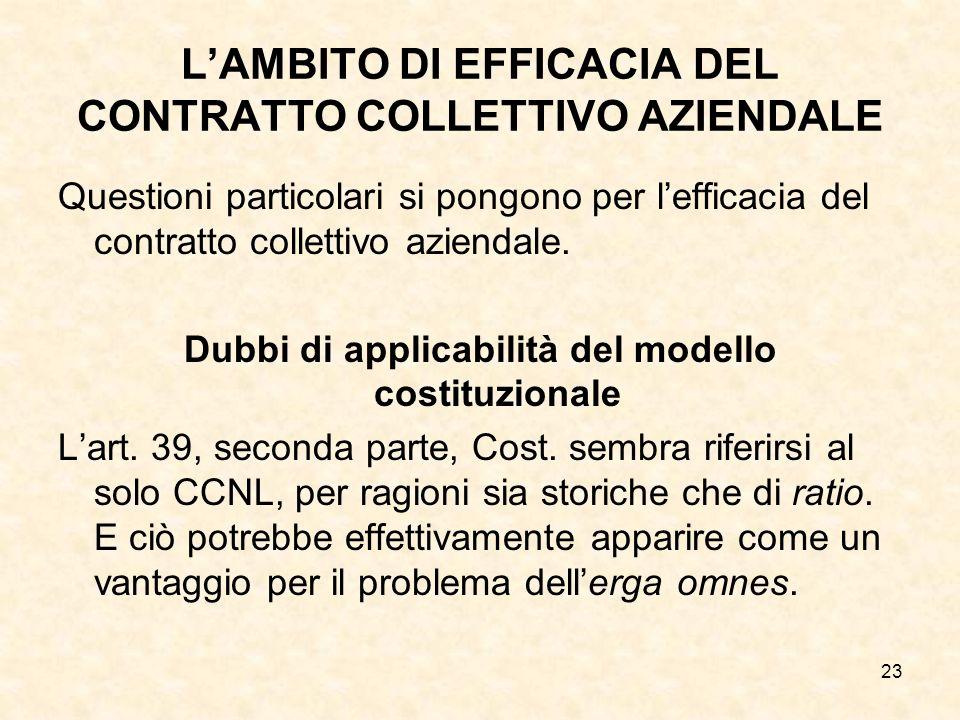 23 LAMBITO DI EFFICACIA DEL CONTRATTO COLLETTIVO AZIENDALE Questioni particolari si pongono per lefficacia del contratto collettivo aziendale.