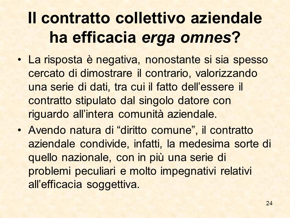 24 Il contratto collettivo aziendale ha efficacia erga omnes.