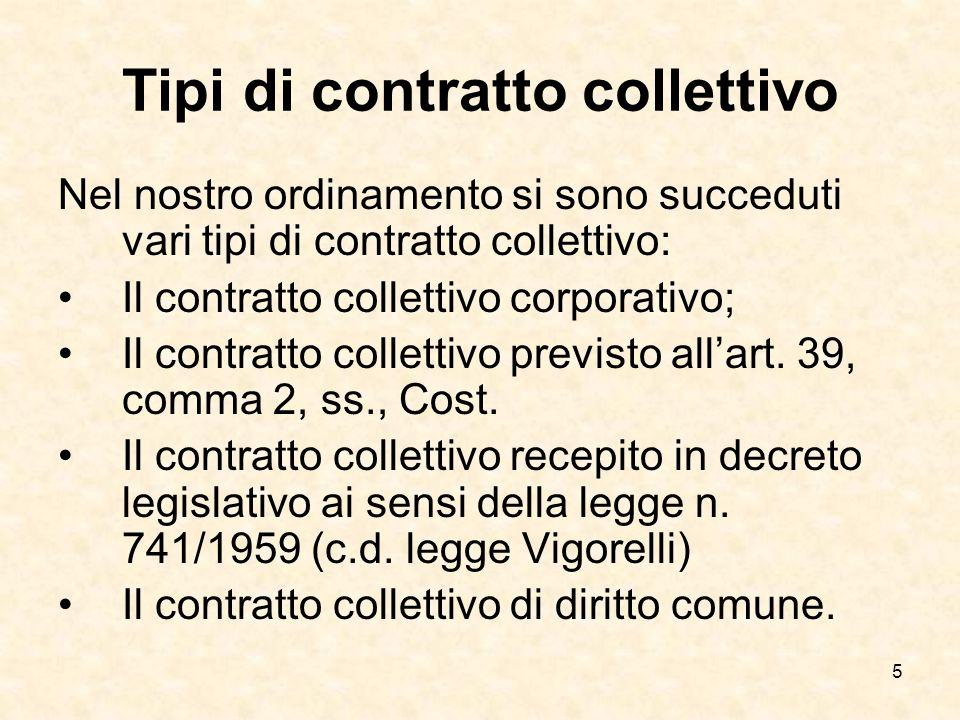 5 Tipi di contratto collettivo Nel nostro ordinamento si sono succeduti vari tipi di contratto collettivo: Il contratto collettivo corporativo; Il contratto collettivo previsto allart.
