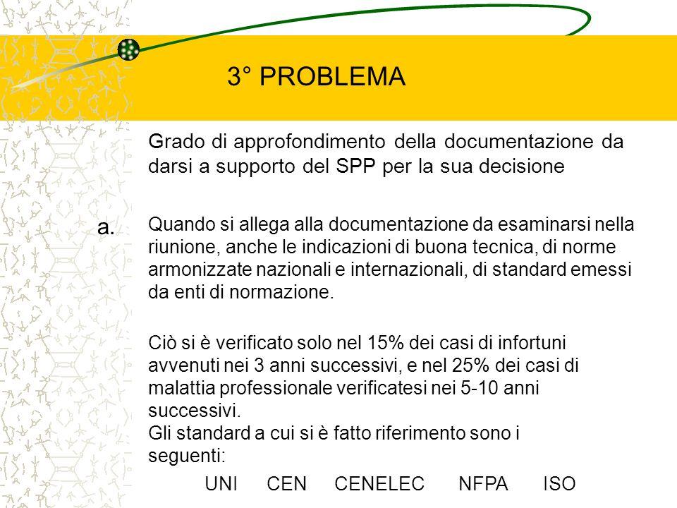 Grado di approfondimento della documentazione da darsi a supporto del SPP per la sua decisione a. Quando si allega alla documentazione da esaminarsi n