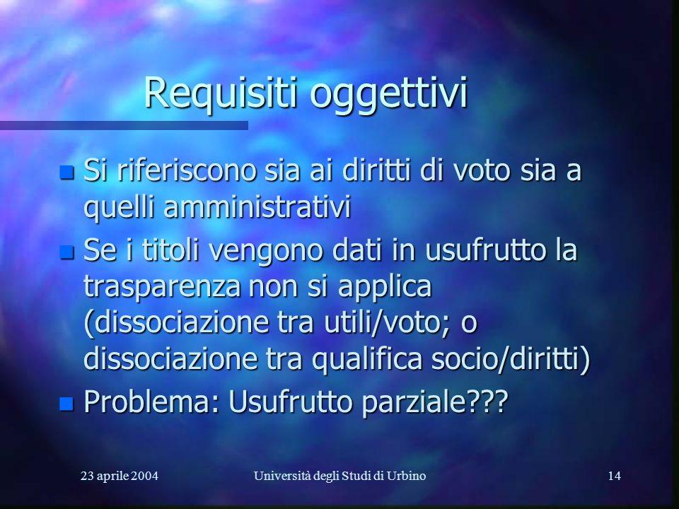 23 aprile 2004Università degli Studi di Urbino14 Requisiti oggettivi n Si riferiscono sia ai diritti di voto sia a quelli amministrativi n Se i titoli