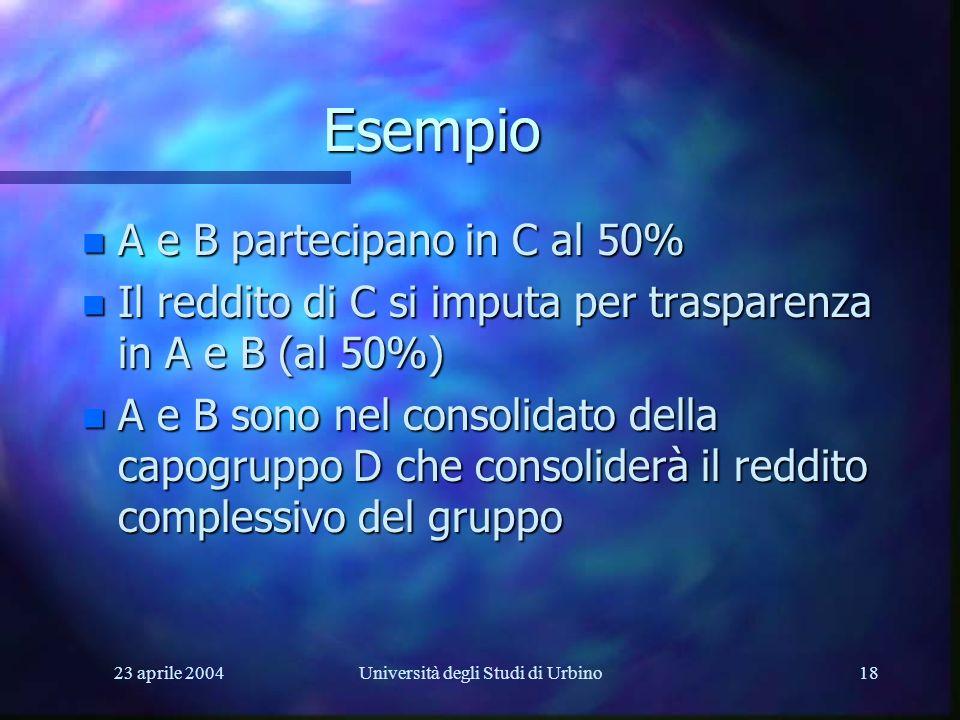 23 aprile 2004Università degli Studi di Urbino18 Esempio n A e B partecipano in C al 50% n Il reddito di C si imputa per trasparenza in A e B (al 50%) n A e B sono nel consolidato della capogruppo D che consoliderà il reddito complessivo del gruppo