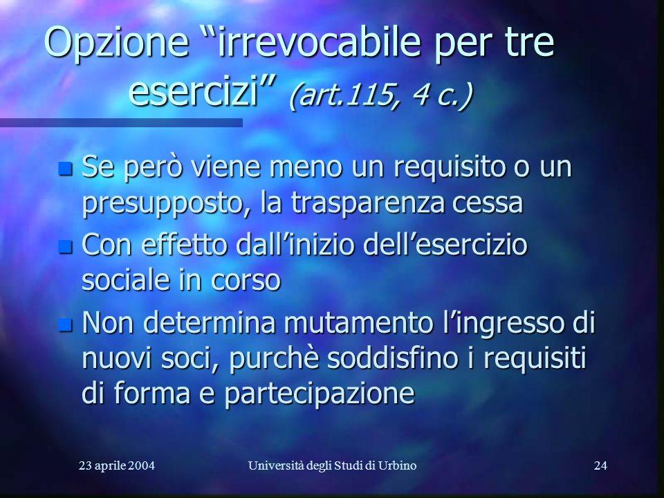 23 aprile 2004Università degli Studi di Urbino24 Opzione irrevocabile per tre esercizi (art.115, 4 c.) n Se però viene meno un requisito o un presuppo