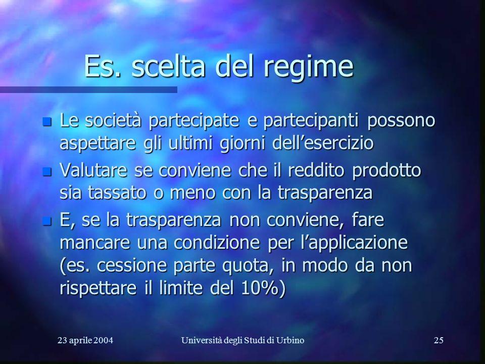 23 aprile 2004Università degli Studi di Urbino25 Es. scelta del regime n Le società partecipate e partecipanti possono aspettare gli ultimi giorni del