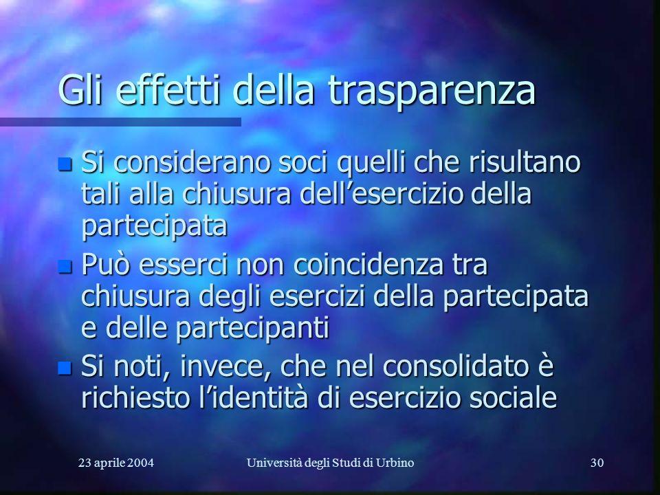 23 aprile 2004Università degli Studi di Urbino30 Gli effetti della trasparenza n Si considerano soci quelli che risultano tali alla chiusura delleserc