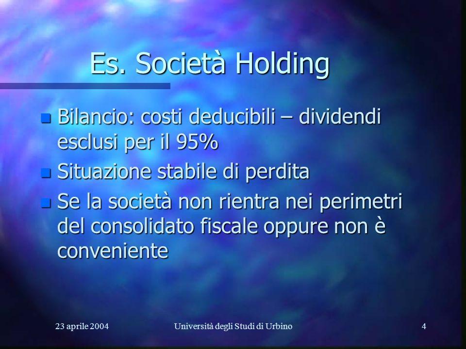23 aprile 2004Università degli Studi di Urbino4 Es. Società Holding n Bilancio: costi deducibili – dividendi esclusi per il 95% n Situazione stabile d