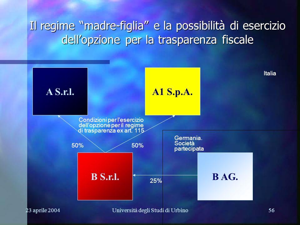 23 aprile 2004Università degli Studi di Urbino56 A S.r.l. B AG.B S.r.l. Il regime madre-figlia e la possibilità di esercizio dellopzione per la traspa