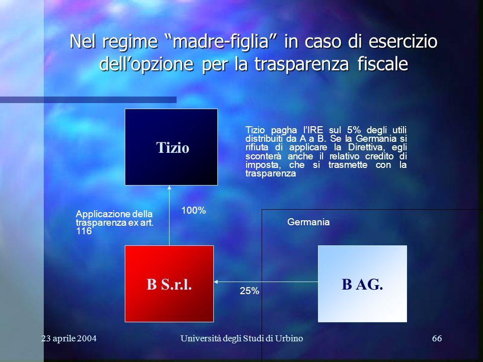 23 aprile 2004Università degli Studi di Urbino66 Tizio B AG.B S.r.l. Nel regime madre-figlia in caso di esercizio dellopzione per la trasparenza fisca