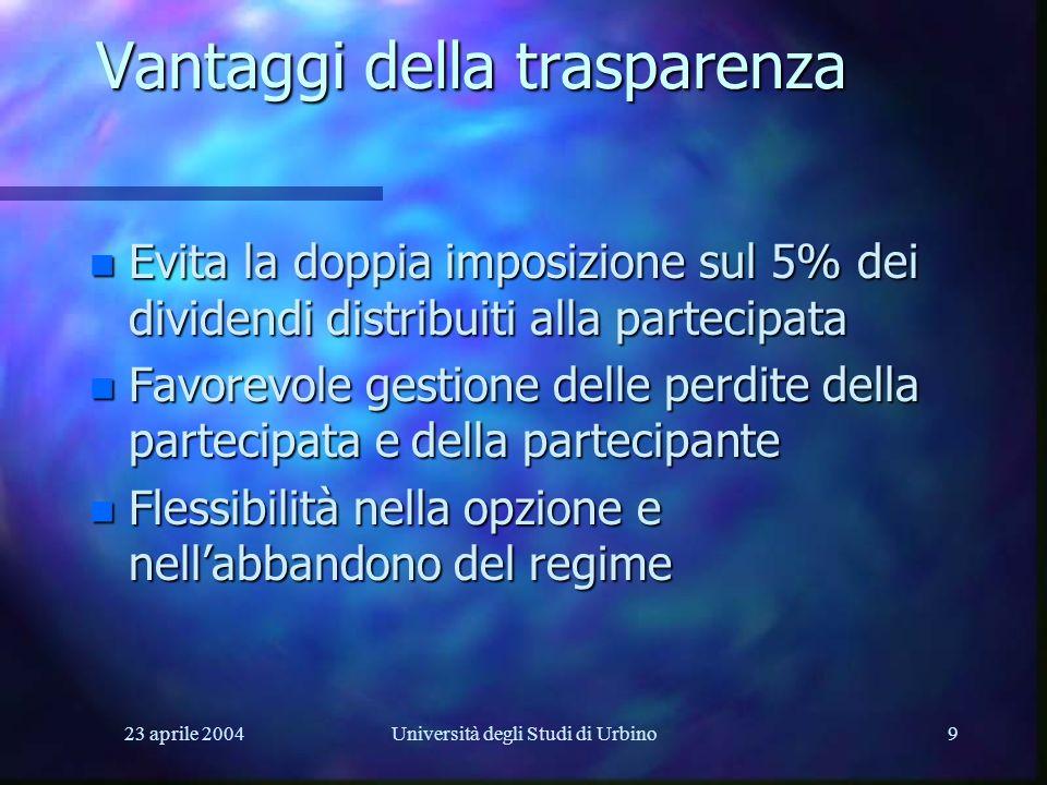 23 aprile 2004Università degli Studi di Urbino9 Vantaggi della trasparenza n Evita la doppia imposizione sul 5% dei dividendi distribuiti alla parteci