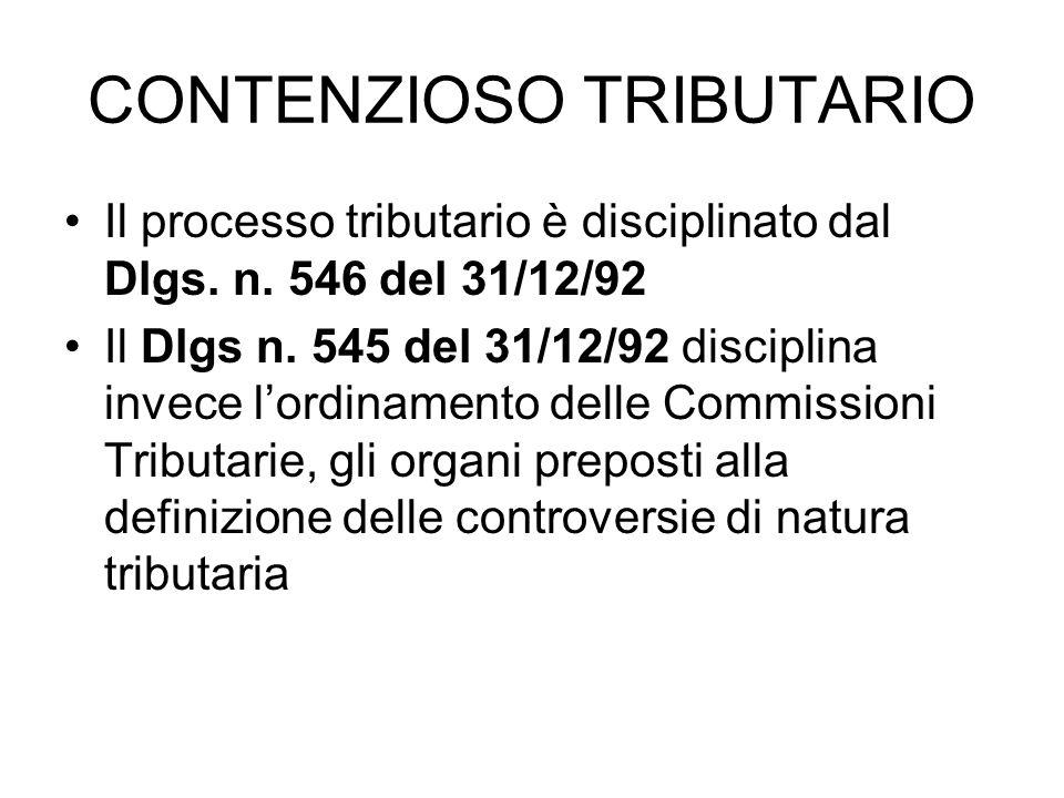 CONTENZIOSO TRIBUTARIO Il processo tributario è disciplinato dal Dlgs. n. 546 del 31/12/92 Il Dlgs n. 545 del 31/12/92 disciplina invece lordinamento