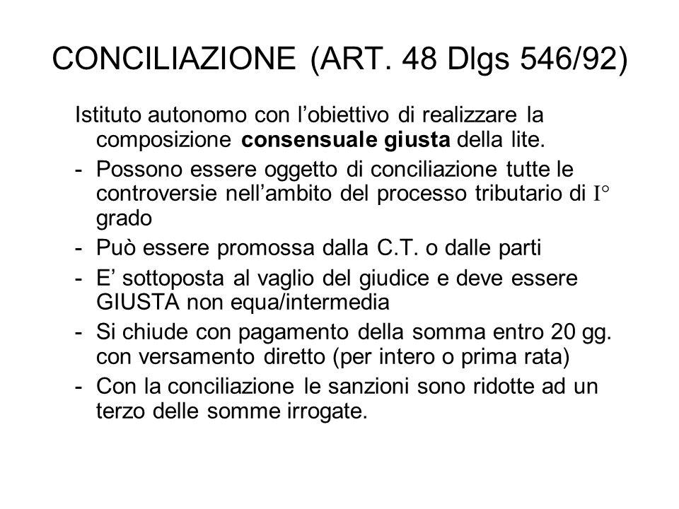 CONCILIAZIONE (ART. 48 Dlgs 546/92) Istituto autonomo con lobiettivo di realizzare la composizione consensuale giusta della lite. -Possono essere ogge
