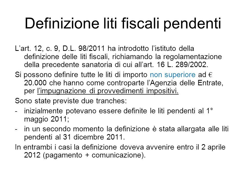 Definizione liti fiscali pendenti Lart. 12, c. 9, D.L. 98/2011 ha introdotto listituto della definizione delle liti fiscali, richiamando la regolament