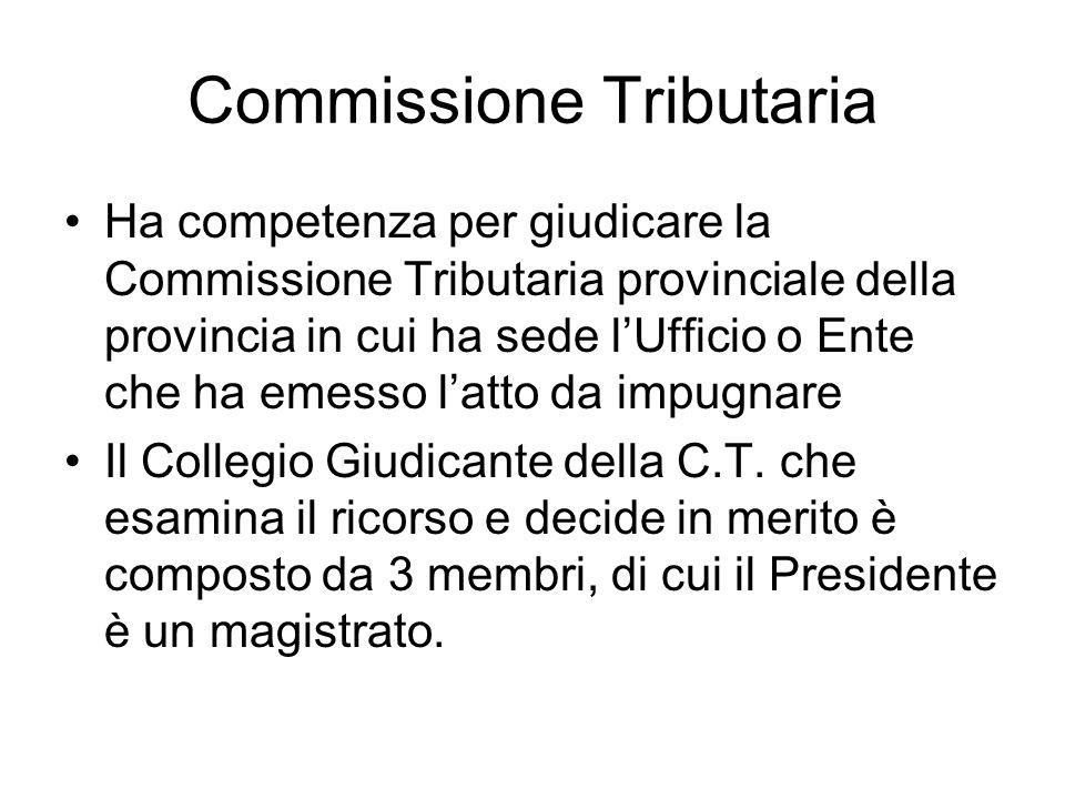 Commissione Tributaria Ha competenza per giudicare la Commissione Tributaria provinciale della provincia in cui ha sede lUfficio o Ente che ha emesso
