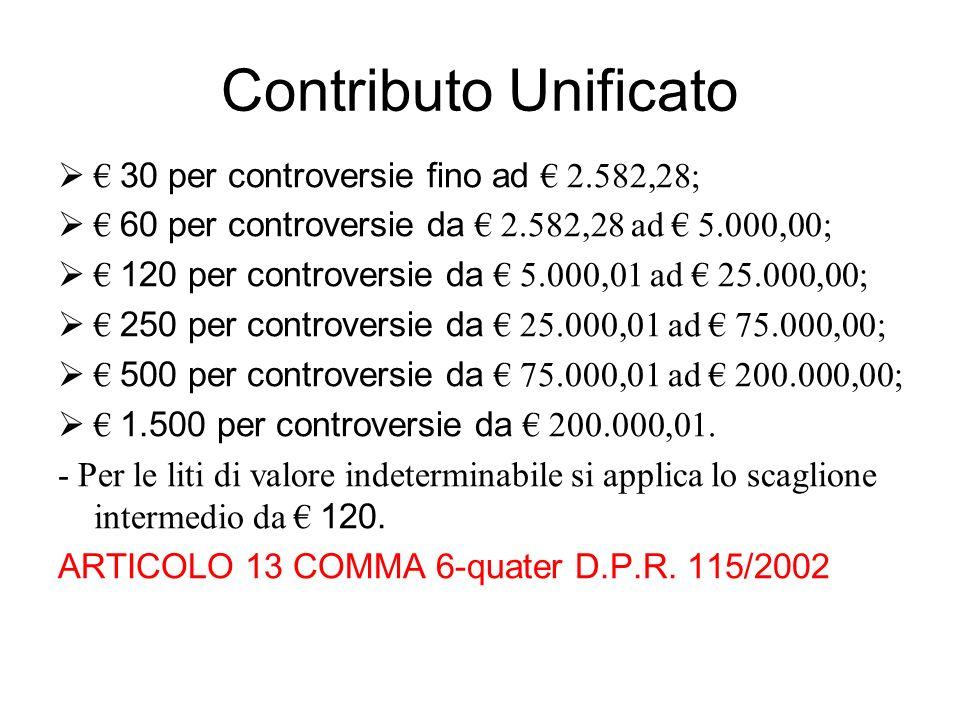 Contributo Unificato 30 per controversie fino ad 2.582,28; 60 per controversie da 2.582,28 ad 5.000,00; 120 per controversie da 5.000,01 ad 25.000,00;