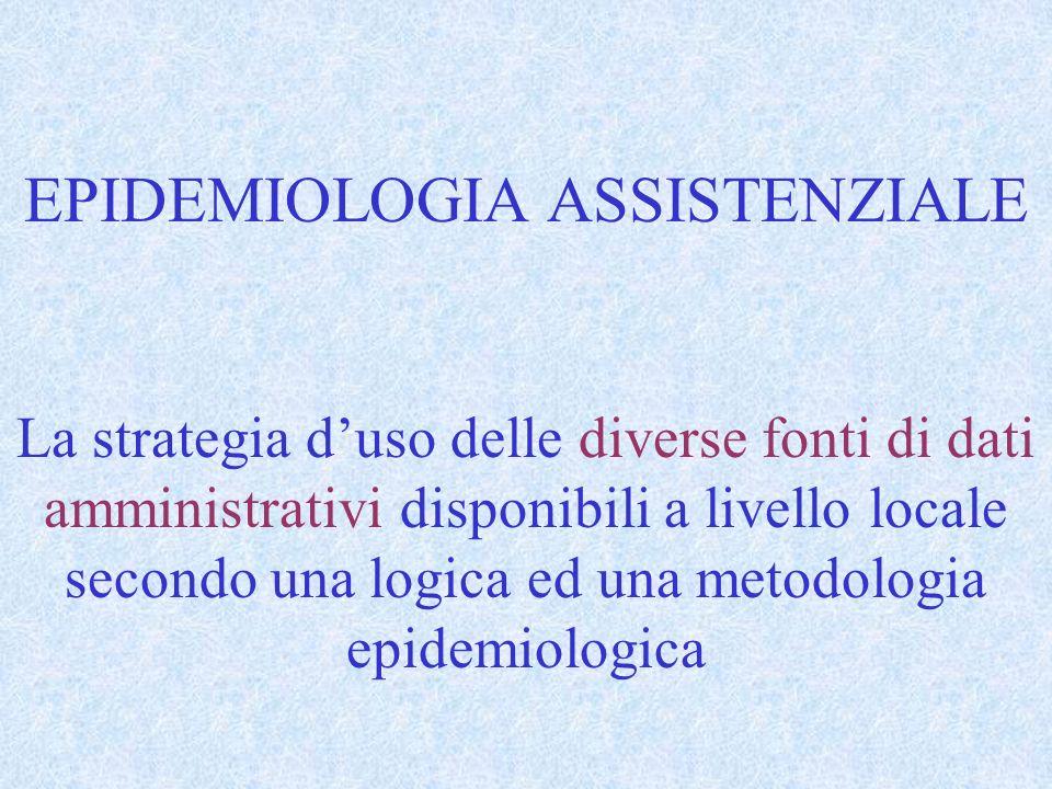 EPIDEMIOLOGIA ASSISTENZIALE La strategia duso delle diverse fonti di dati amministrativi disponibili a livello locale secondo una logica ed una metodo