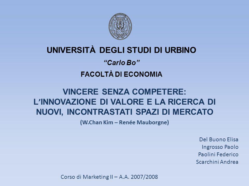 UNIVERSITÀ DEGLI STUDI DI URBINO Carlo Bo FACOLTÀ DI ECONOMIA VINCERE SENZA COMPETERE: L INNOVAZIONE DI VALORE E LA RICERCA DI NUOVI, INCONTRASTATI SP