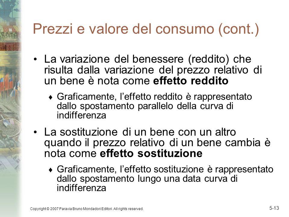 Copyright © 2007 Paravia Bruno Mondadori Editori. All rights reserved. 5-13 Prezzi e valore del consumo (cont.) La variazione del benessere (reddito)