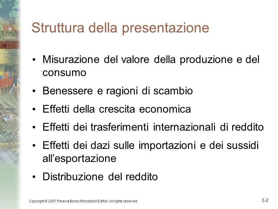 Copyright © 2007 Paravia Bruno Mondadori Editori. All rights reserved. 5-2 Struttura della presentazione Misurazione del valore della produzione e del