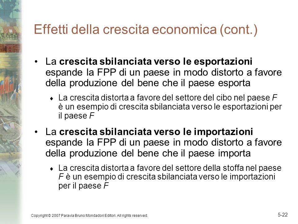 Copyright © 2007 Paravia Bruno Mondadori Editori. All rights reserved. 5-22 Effetti della crescita economica (cont.) La crescita sbilanciata verso le