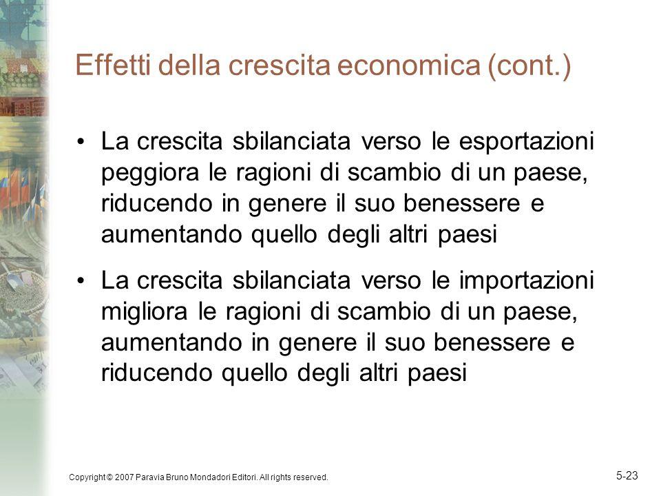 Copyright © 2007 Paravia Bruno Mondadori Editori. All rights reserved. 5-23 Effetti della crescita economica (cont.) La crescita sbilanciata verso le