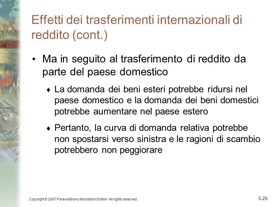 Copyright © 2007 Paravia Bruno Mondadori Editori. All rights reserved. 5-29 Effetti dei trasferimenti internazionali di reddito (cont.) Ma in seguito