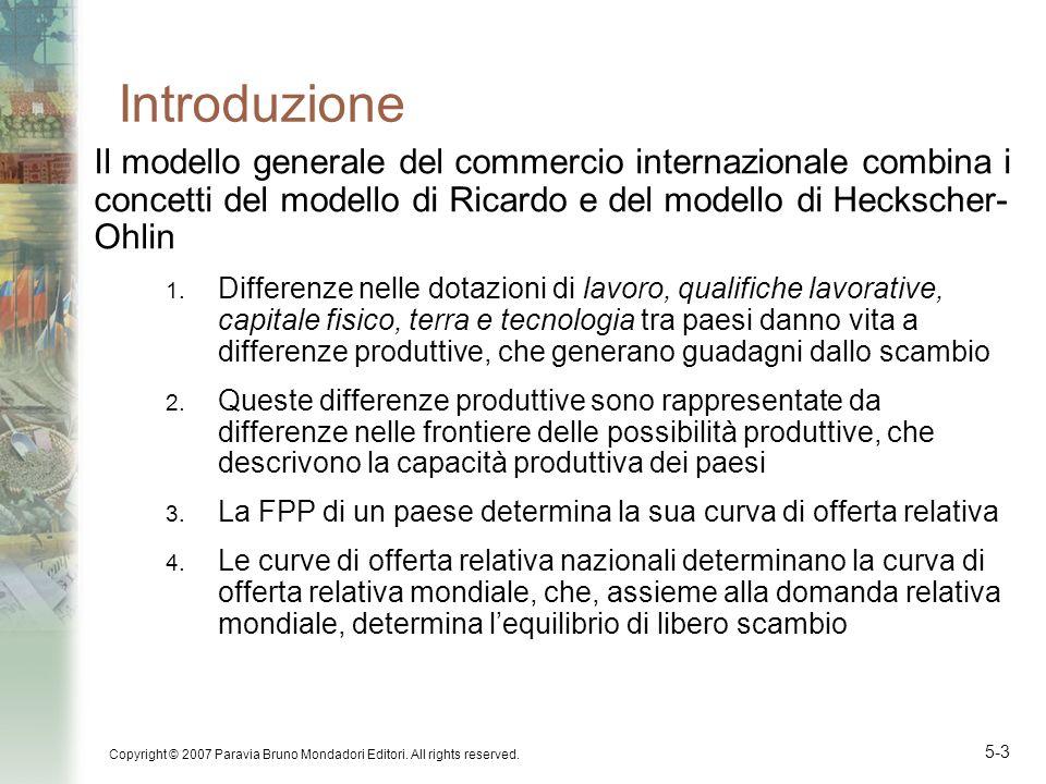 Copyright © 2007 Paravia Bruno Mondadori Editori. All rights reserved. 5-3 Introduzione Il modello generale del commercio internazionale combina i con