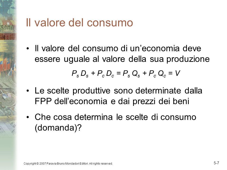 Copyright © 2007 Paravia Bruno Mondadori Editori. All rights reserved. 5-7 Il valore del consumo Il valore del consumo di uneconomia deve essere ugual