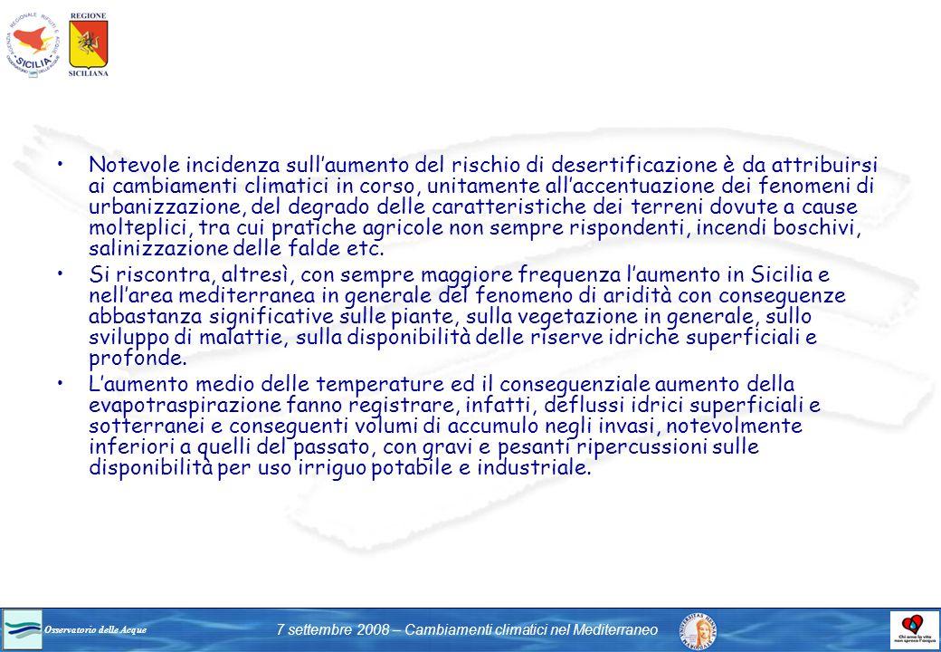 Osservatorio delle Acque 7 settembre 2008 – Cambiamenti climatici nel Mediterraneo Notevole incidenza sullaumento del rischio di desertificazione è da