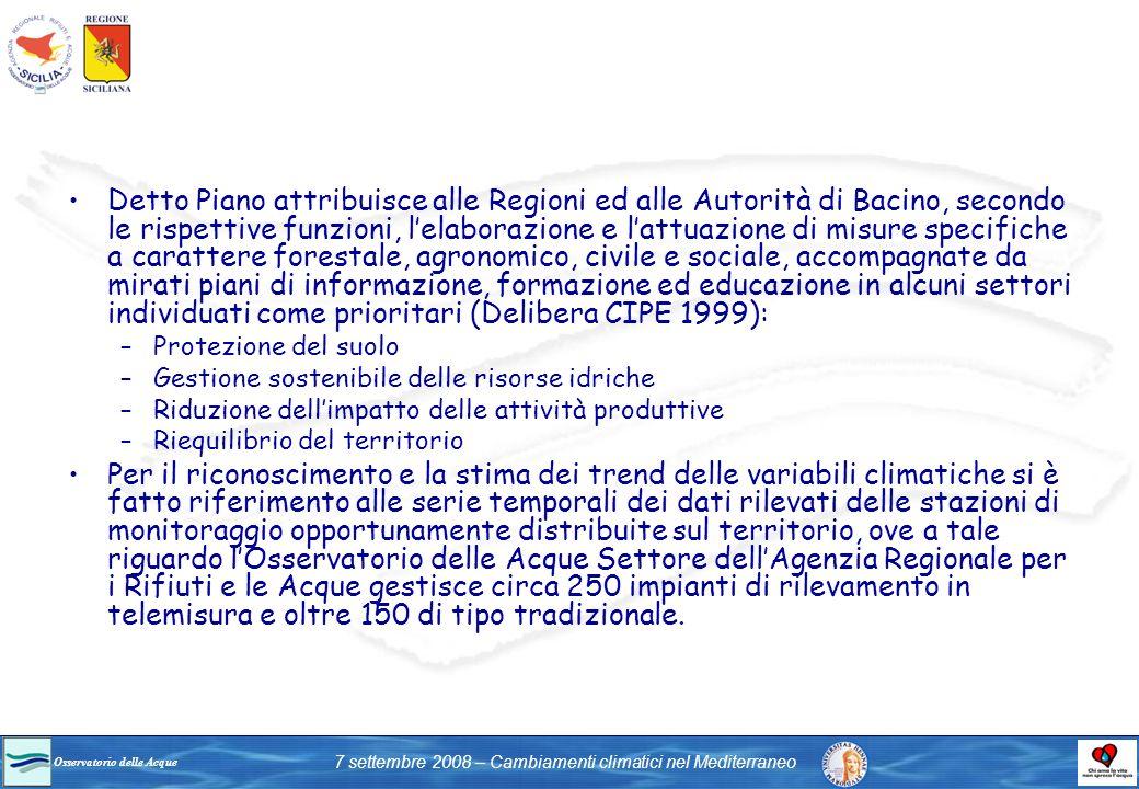 Osservatorio delle Acque 7 settembre 2008 – Cambiamenti climatici nel Mediterraneo Detto Piano attribuisce alle Regioni ed alle Autorità di Bacino, se